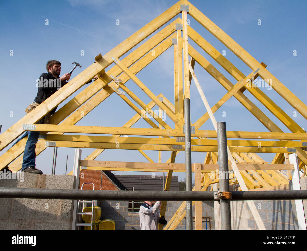 Self building house constructing roof joiner fixing roof for Buy roof trusses