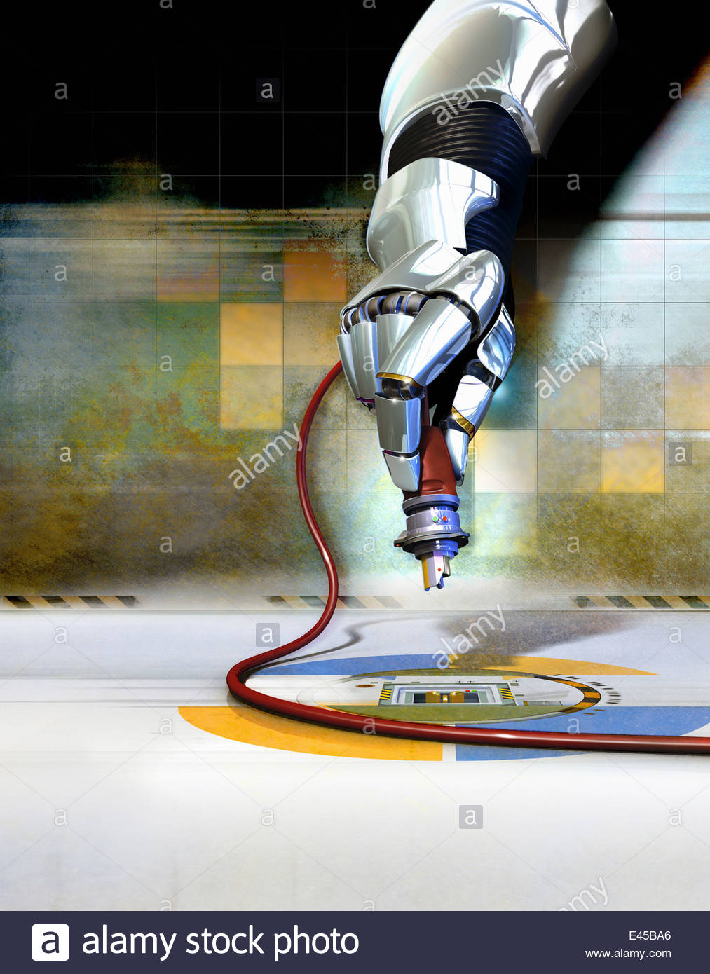 Robotic arm with tool - Stock Image