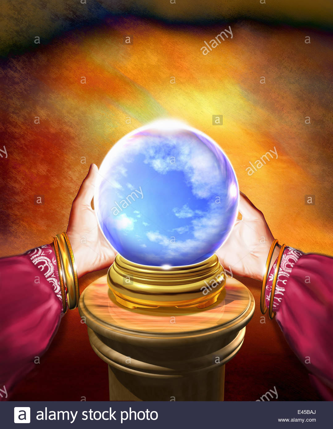 Hands of fortune teller holding crystal ball with blue sky inside - Stock Image