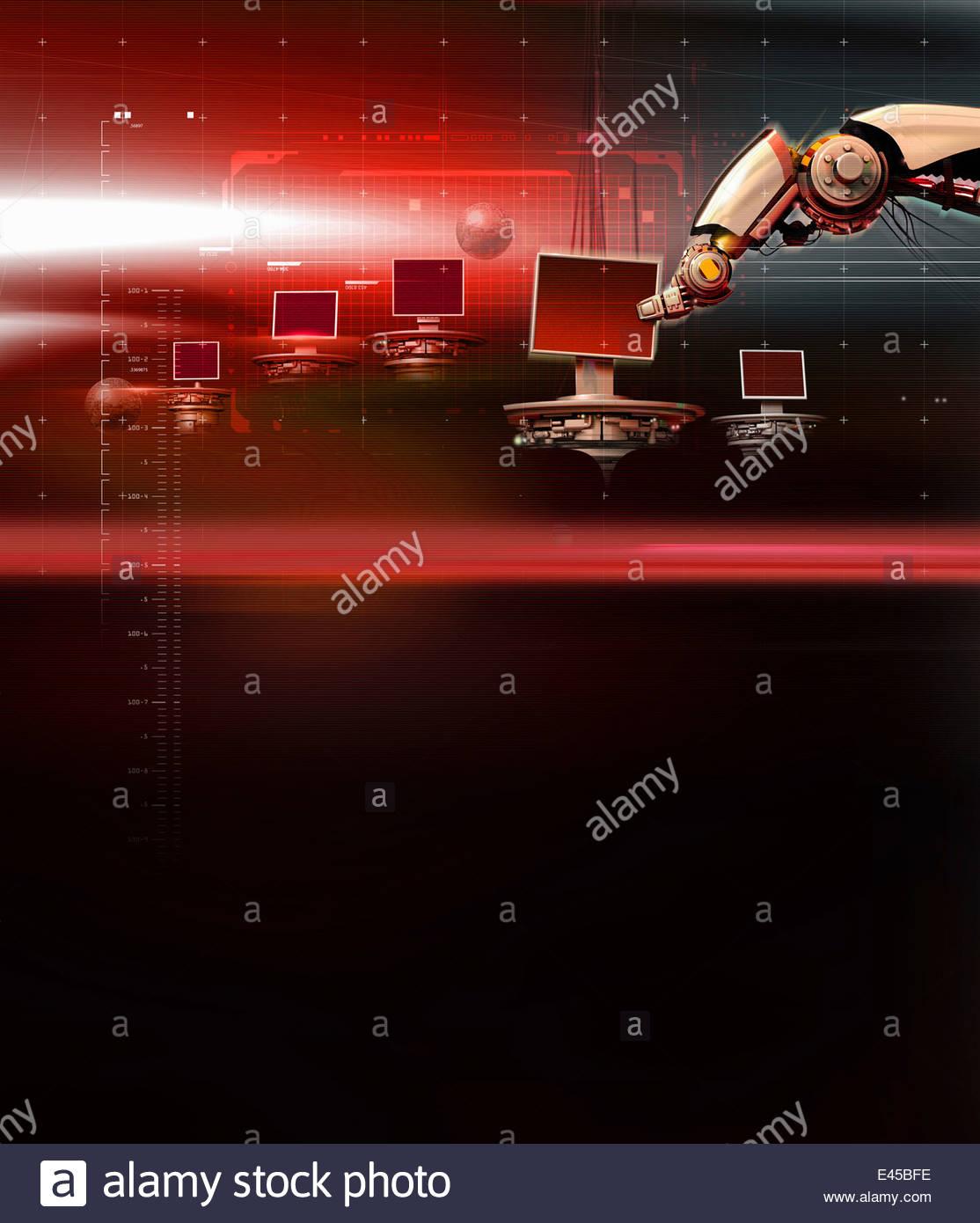Robotic arm processing computer hardware - Stock Image