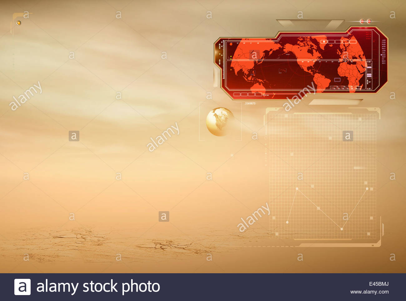 Red world map and arid landscape - Stock Image