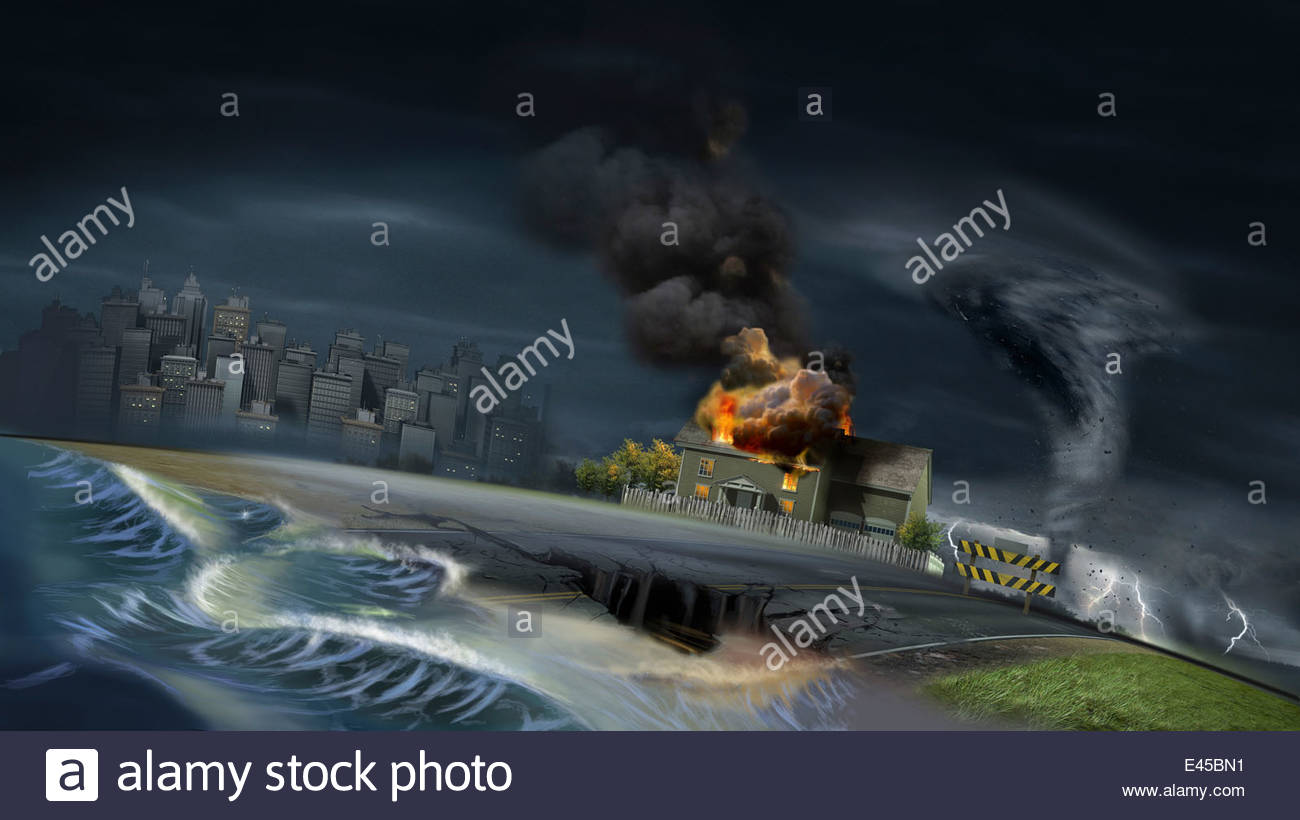 Flood, earthquake, fire, tornado and weather disaster damage - Stock Image