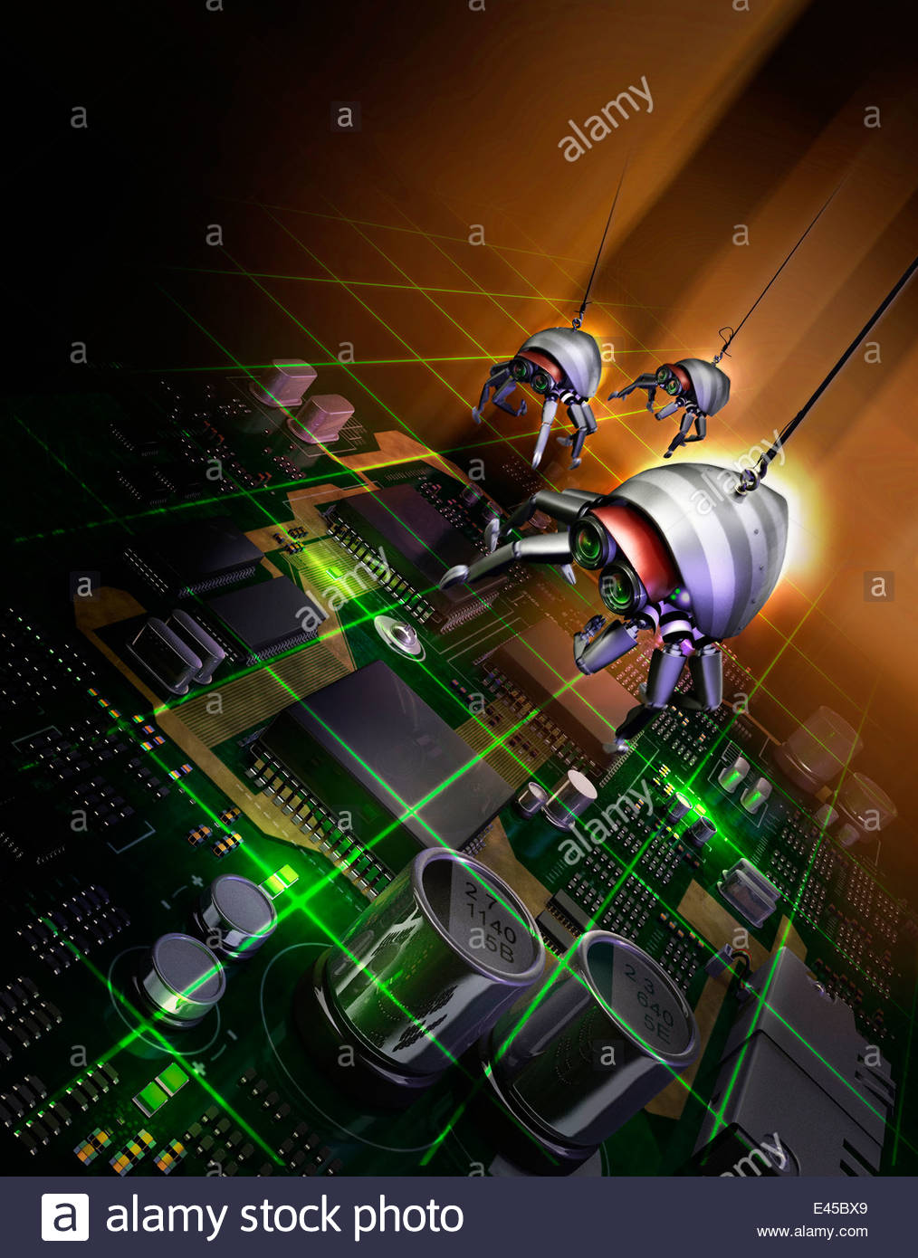 Robotic bugs above computer circuit board and laser beams - Stock Image