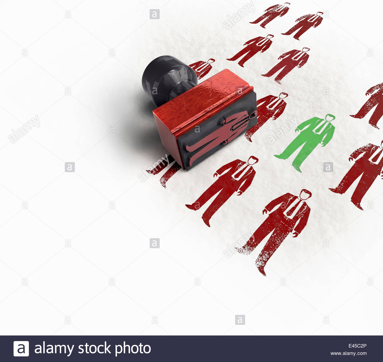 Green rubber stamp businessman standing out from the crowd - Stock Image