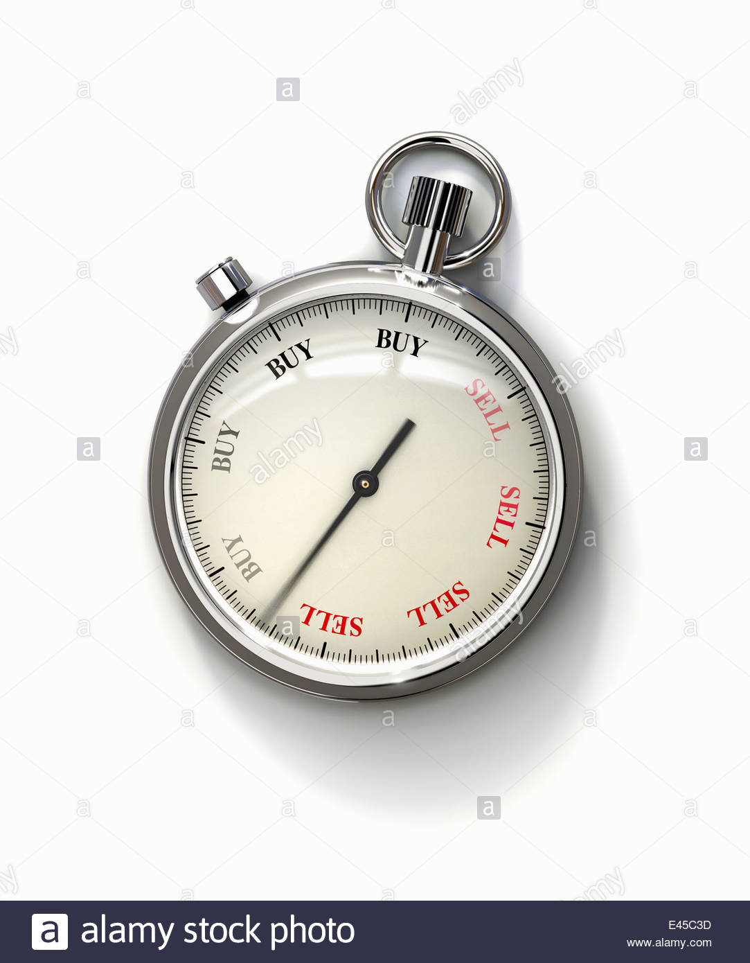 Stopwatch with 'buy' and 'sell' dial - Stock Image