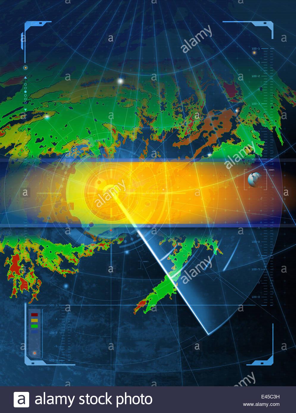 Radar monitoring screen - Stock Image