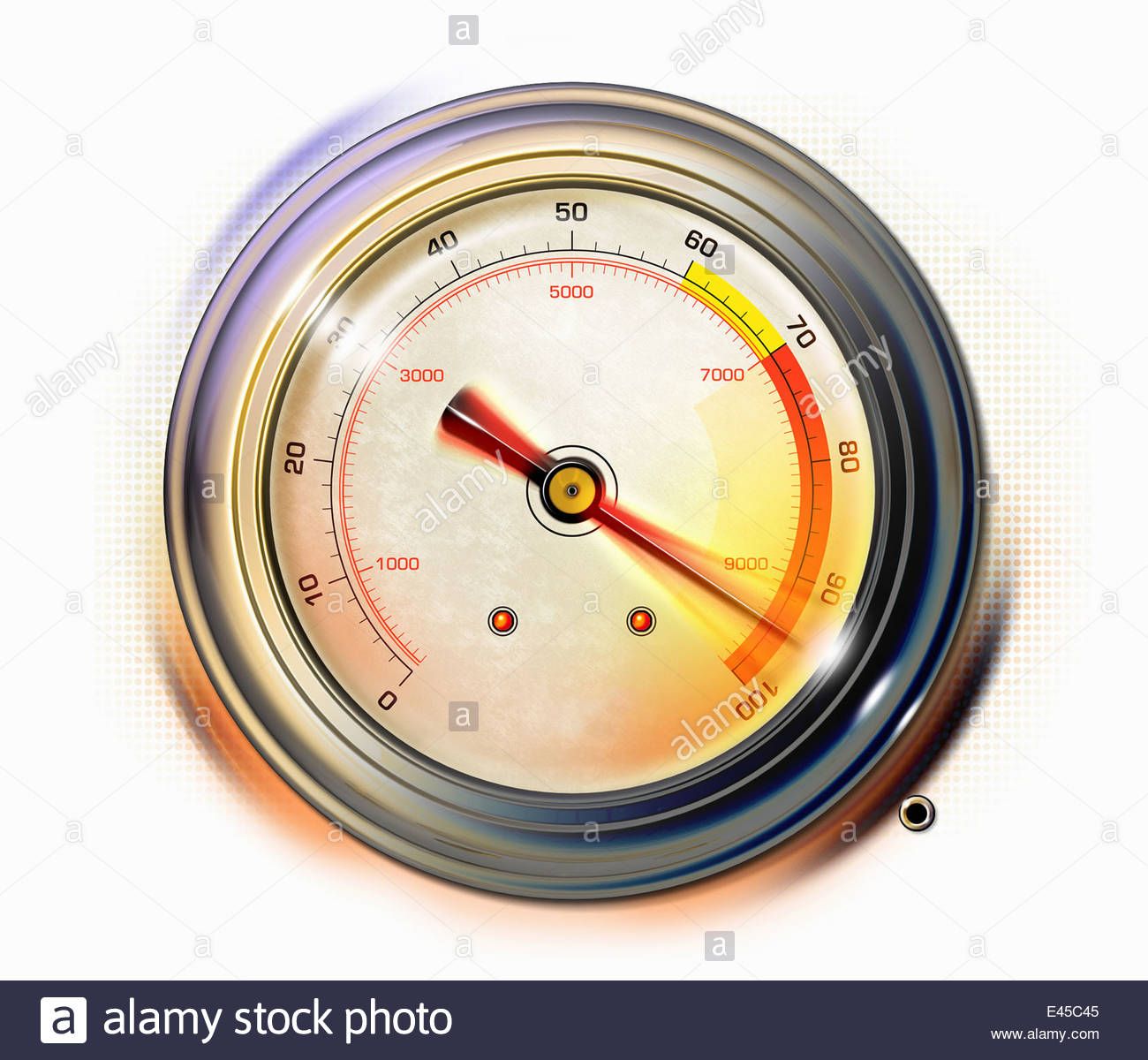 Close up of pressure gauge red warning - Stock Image