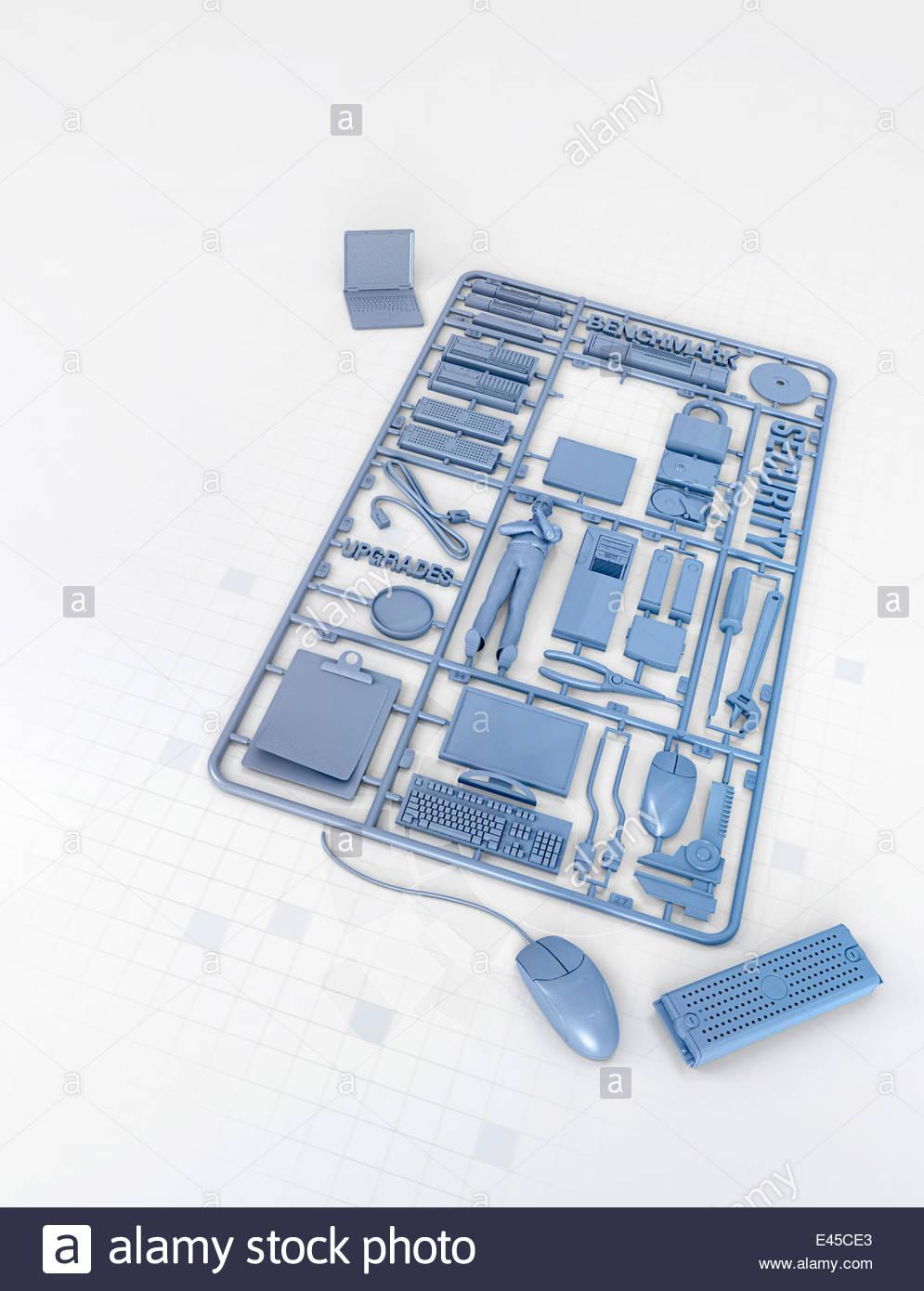 Plastic computer assembly kit - Stock Image