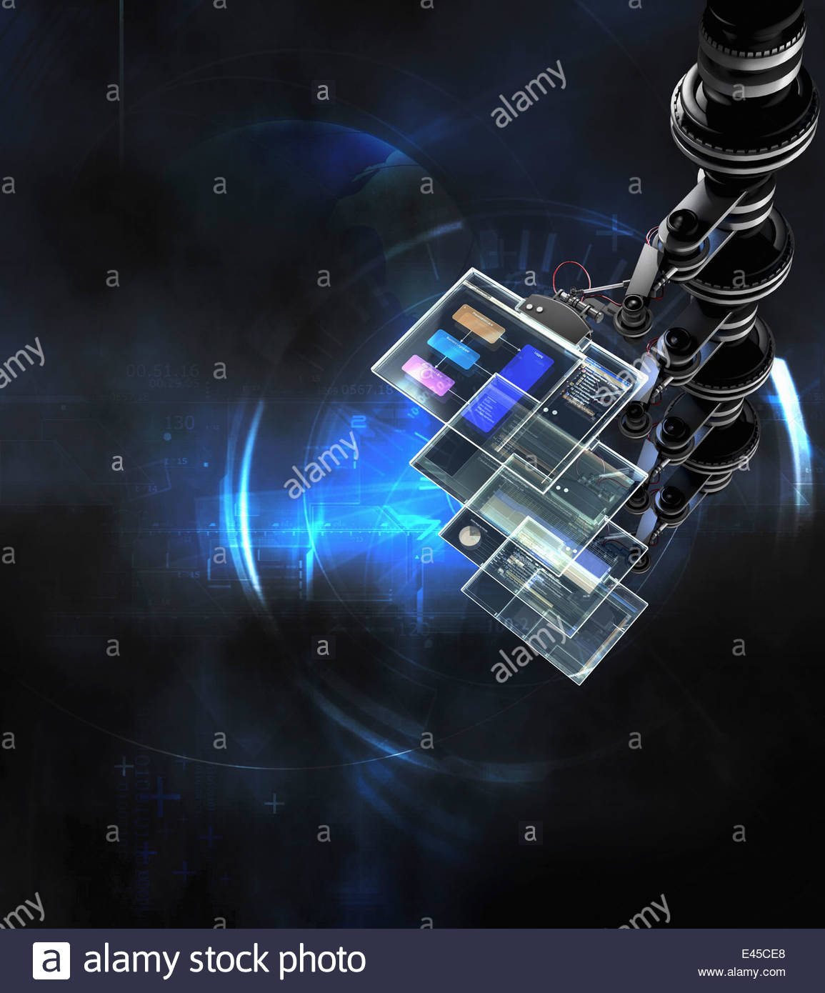 Stack of transparent computer touch screens - Stock Image