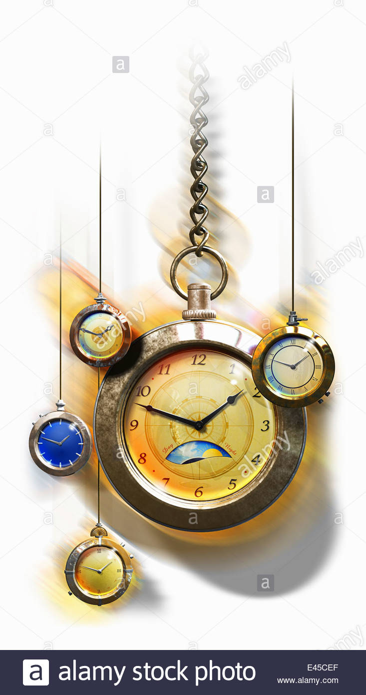 Variety of hanging pocket watches - Stock Image