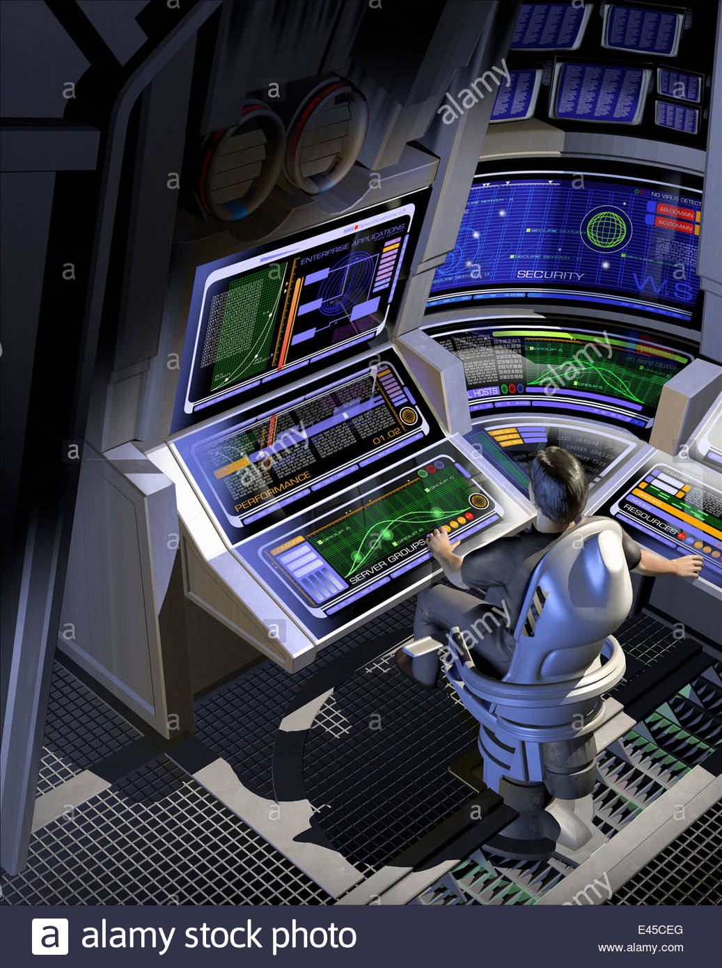 Man working at control panels in futuristic control room - Stock Image