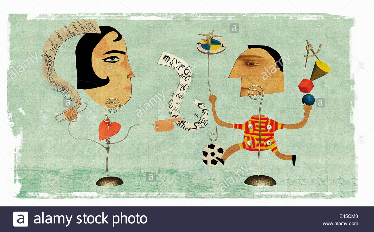 Man and woman with different hobbies and interests - Stock Image
