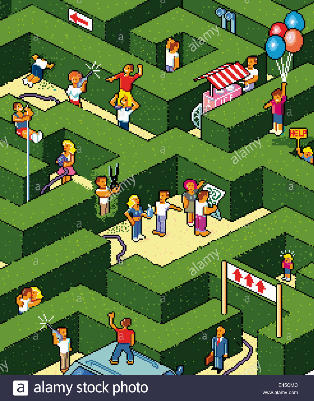 Lots of people lost in maze looking for way out - Stock Image