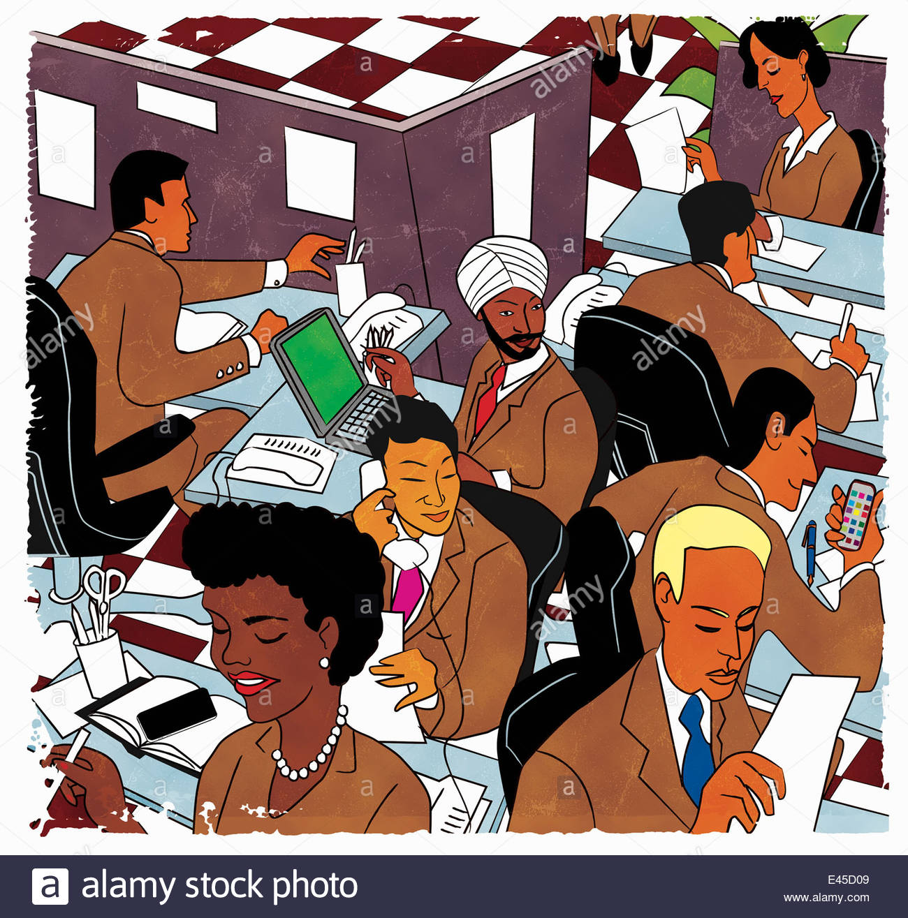 Busy multiethnic office workers - Stock Image
