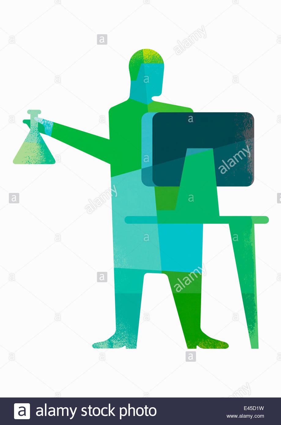Scientist holding chemistry beaker using computer - Stock Image