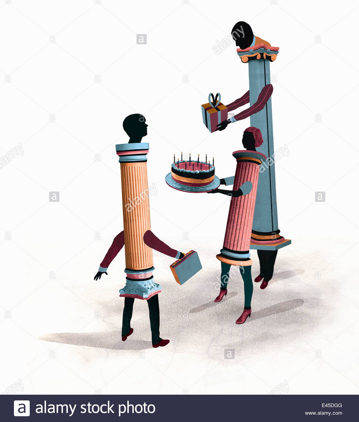 Pedestal business people giving colleague cake and gift - Stock Image