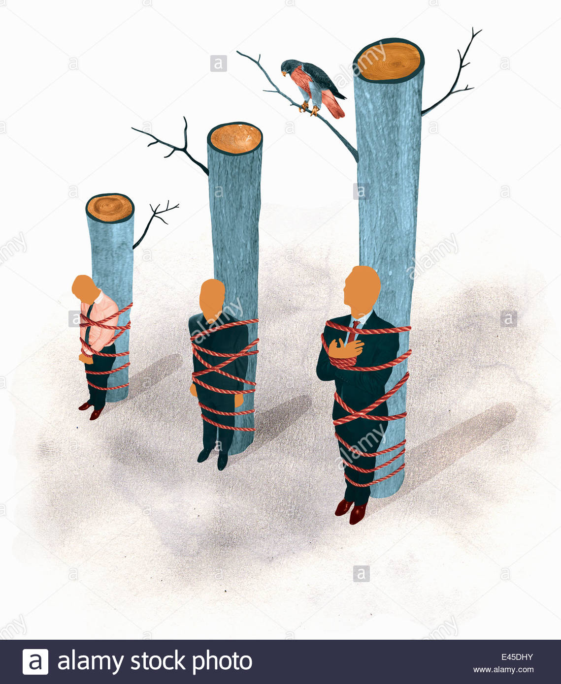 Businessmen tied to tree trunks in order of height - Stock Image