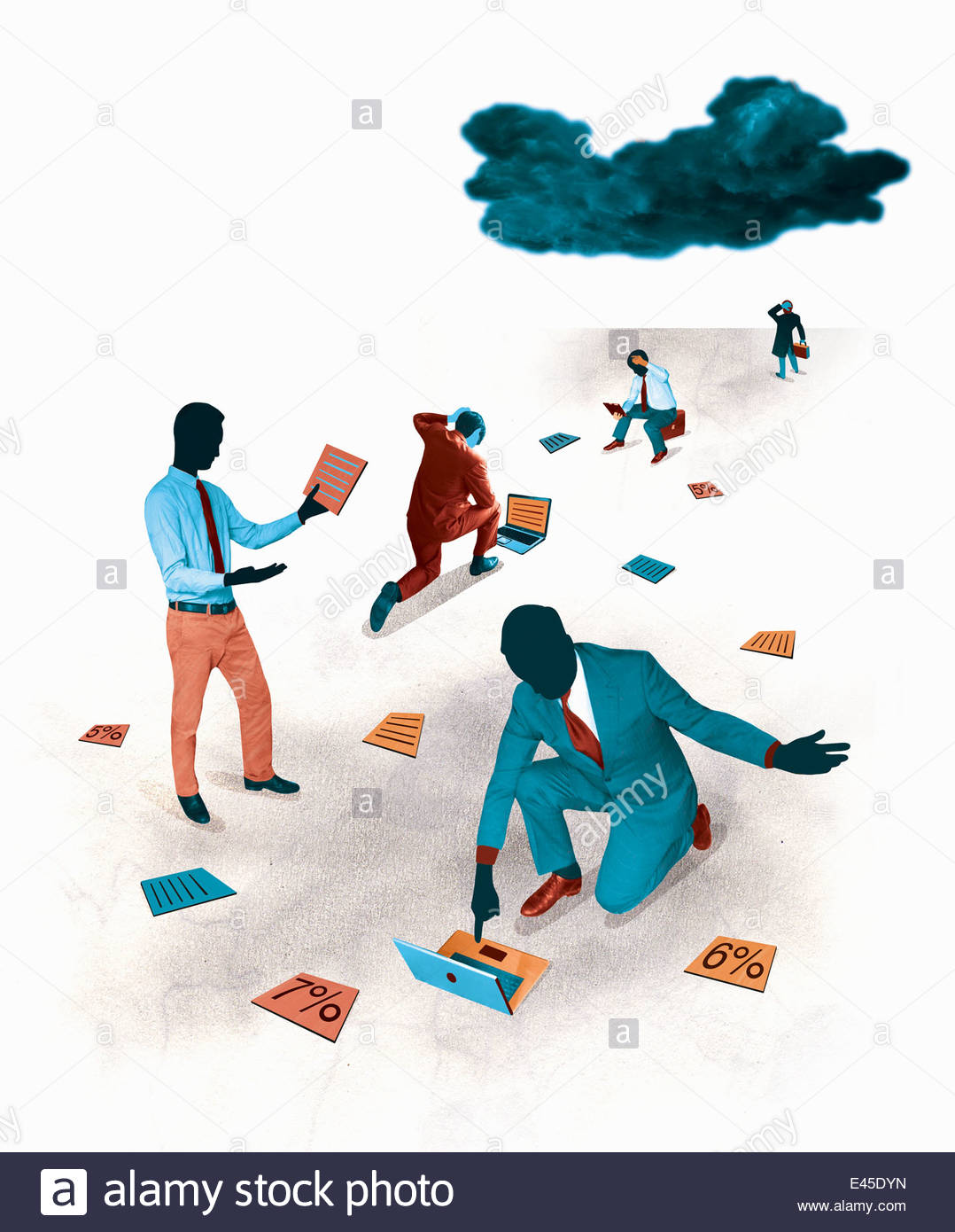 Dark cloud over exasperated businessmen looking at documents and percentage rates - Stock Image