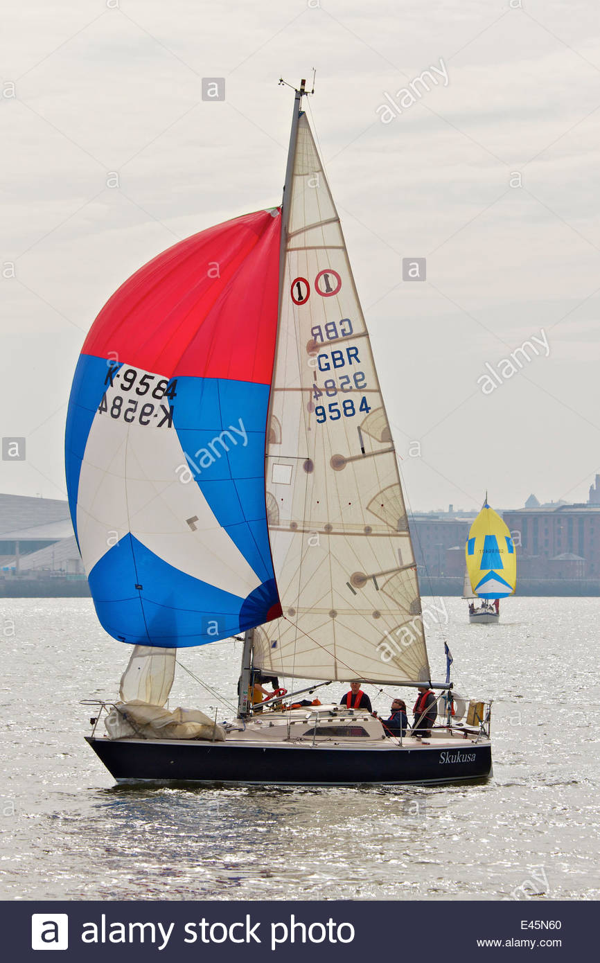 Sailing boat on the River Mersey. Liverpool, UK, April 2010. - Stock Image