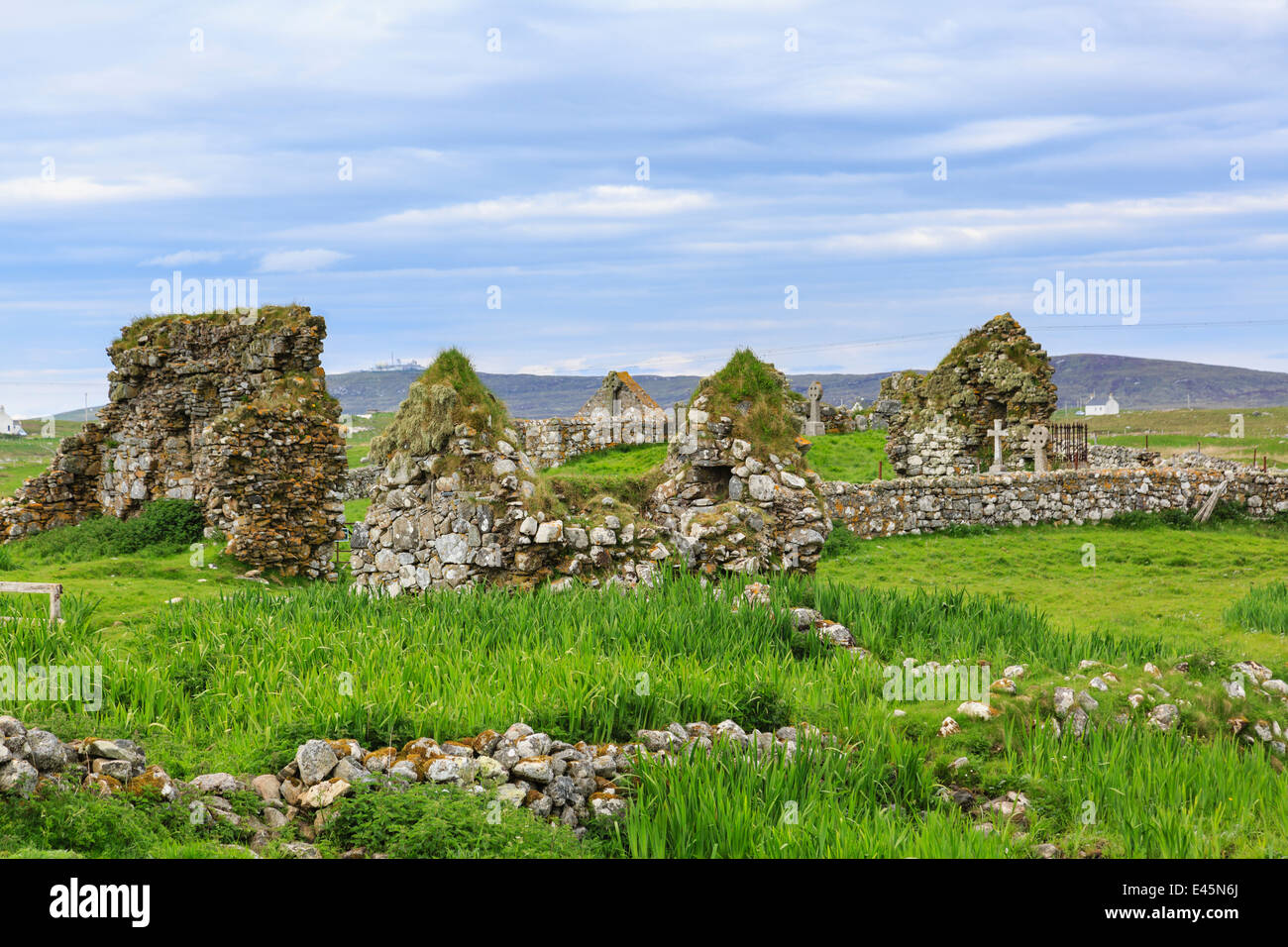 Howmore Chapel ruins and burial ground. South Uist, Outer Hebrides, Western Isles, Scotland, UK, Britain - Stock Image