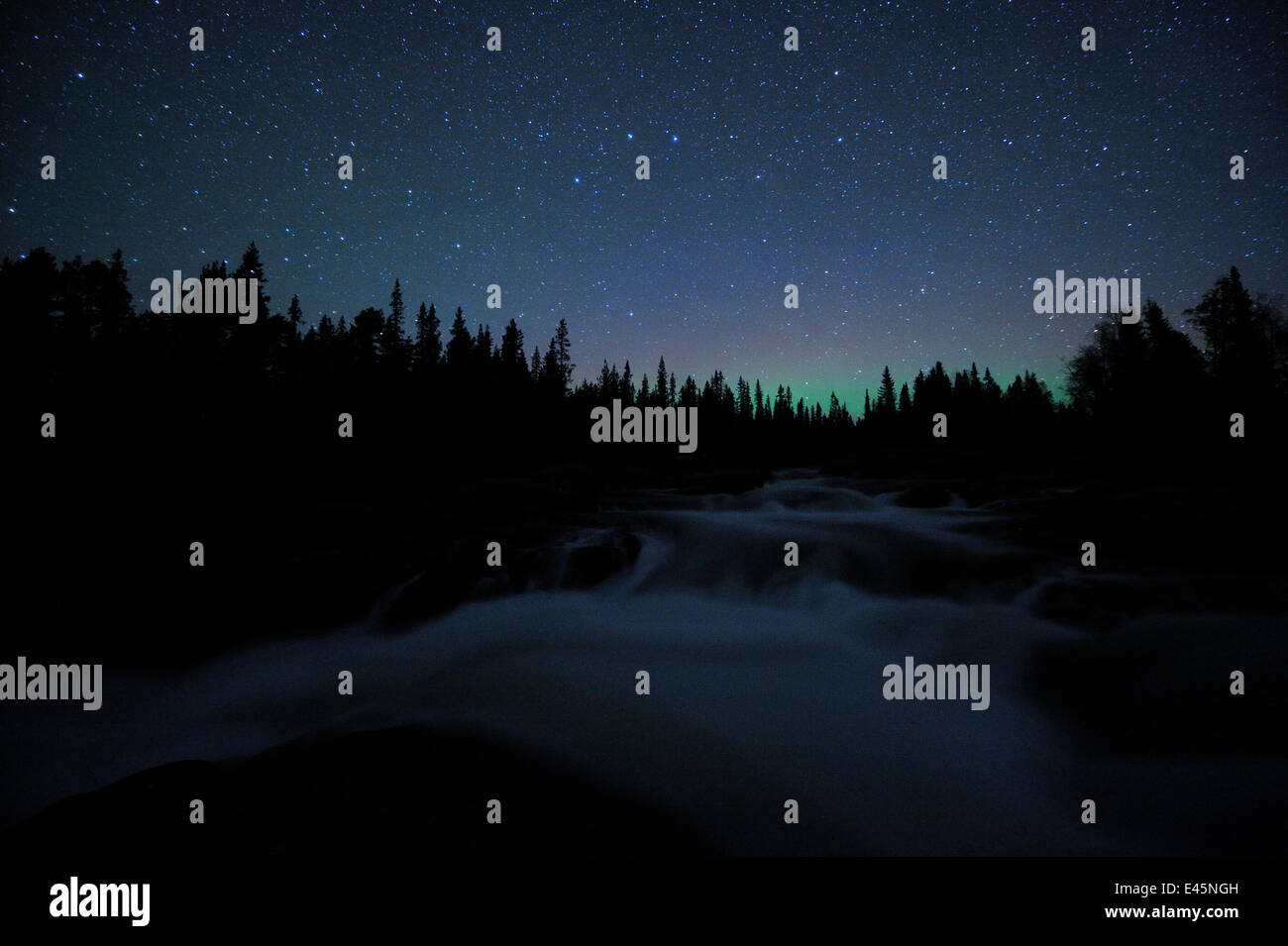 Starlit sky, and Northern lights, over White Water, river, Sarek National Park, Sweden, Scandinavia - Stock Image