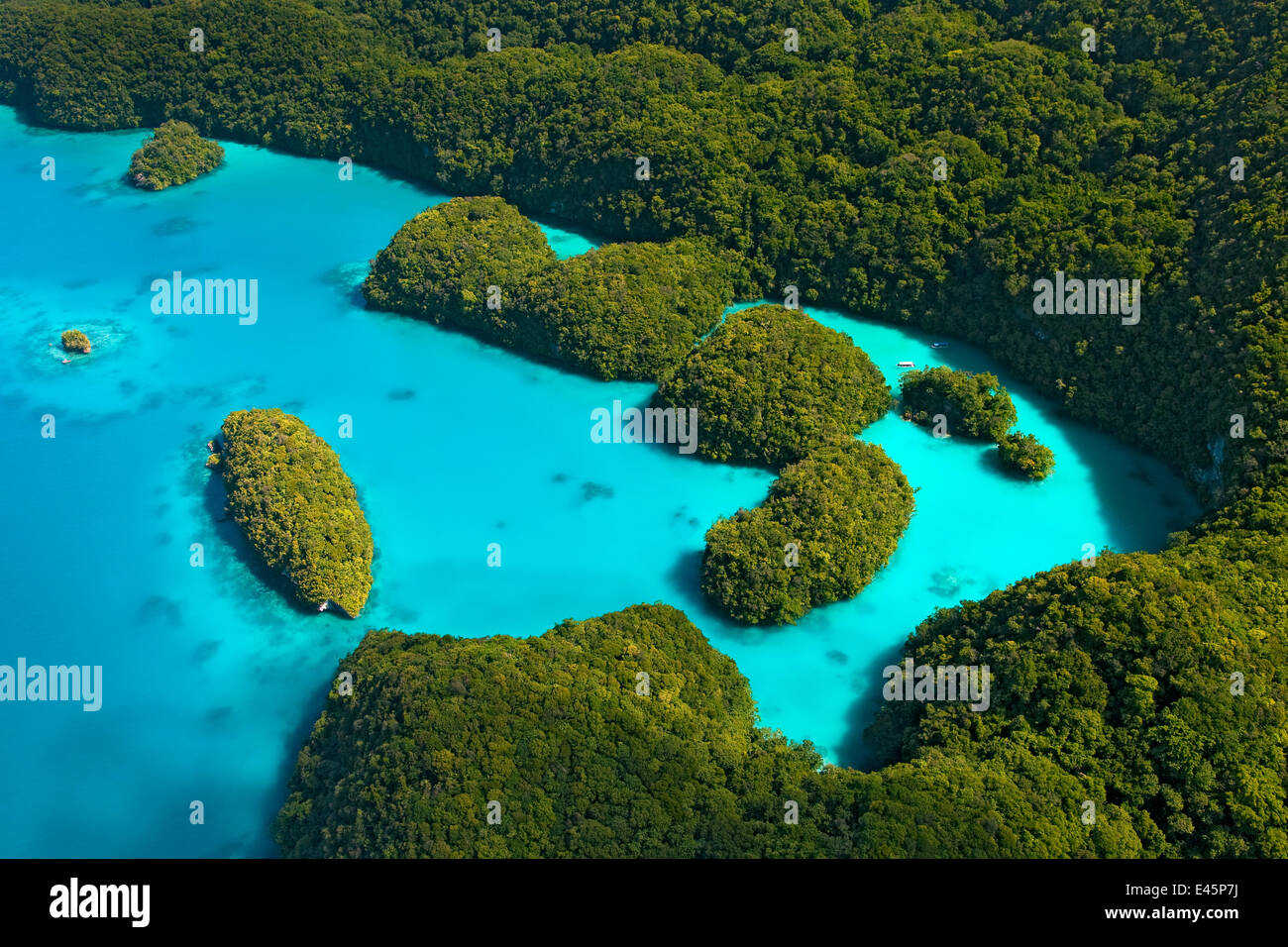 Aerial view of Milky Way Bay, Rock Islands, Palau, Micronesia. April 2009 - Stock Image