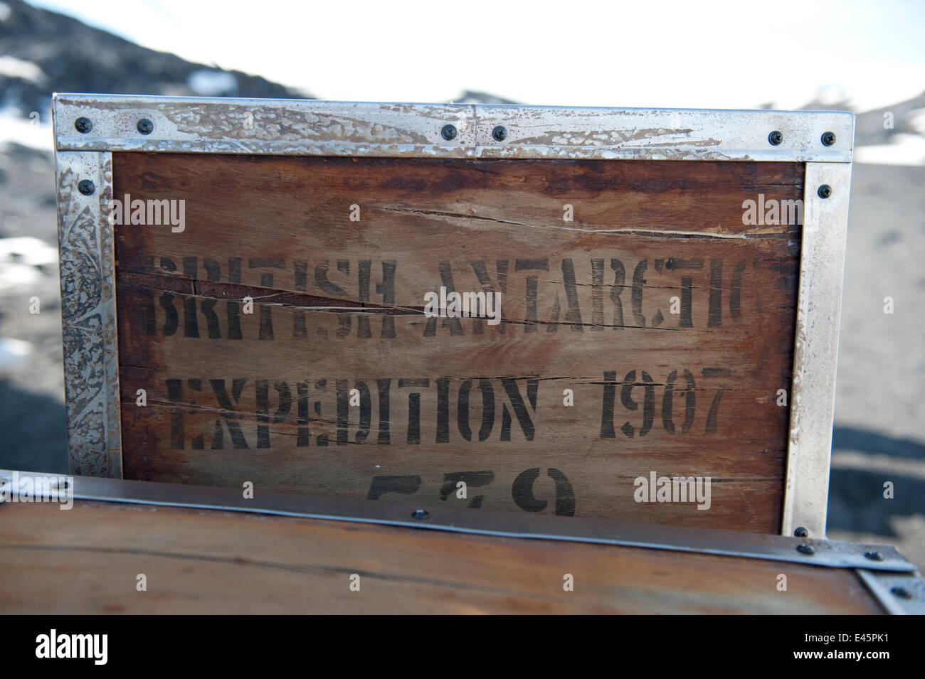 Wooden packing cases outside Shackleton's Nimrod Hut, frozen in time from the British Antarctic Expedition 1907, - Stock Image
