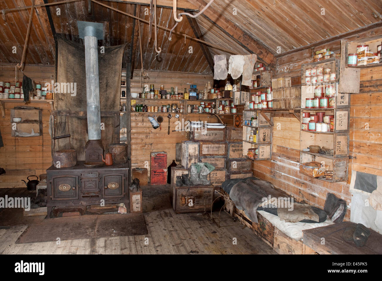 Interior of Shackleton's Nimrod Hut, frozen in time from the British Antarctic Expedition 1907, Cape Royds, - Stock Image