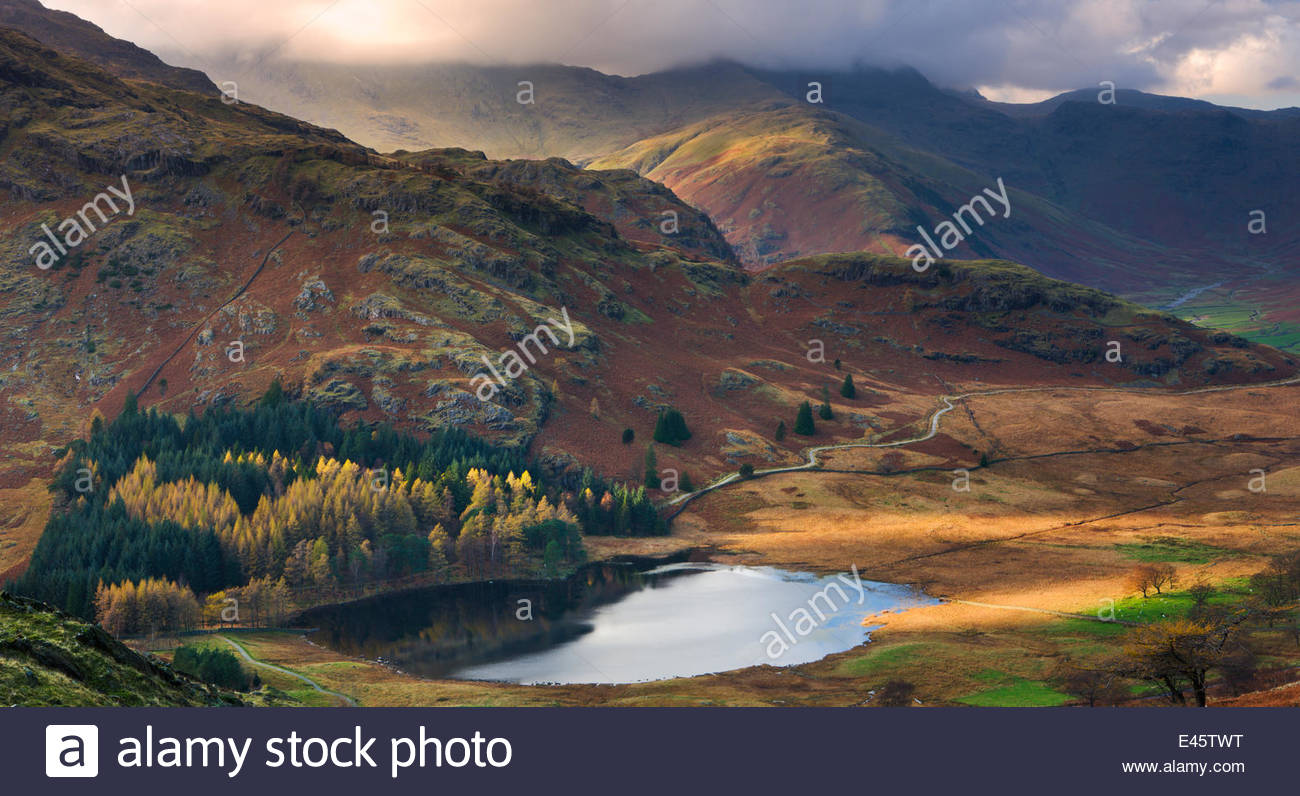 Blea Tarn and Wrynose Fell in the Lake District National Park, Cumbria, England, UK. November 2009 - Stock Image