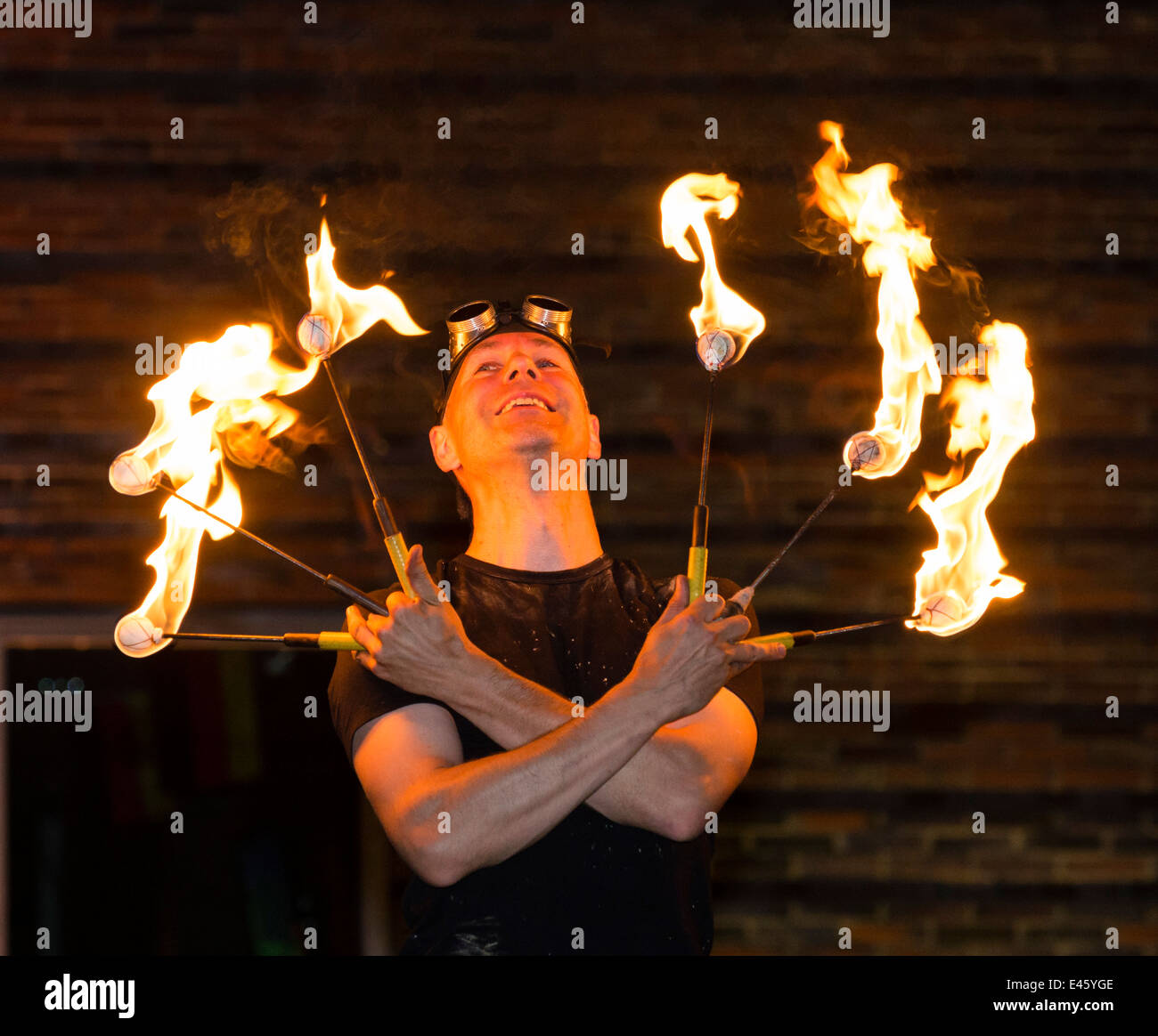 'Der Feuermann' shows his performance at 'Extraschicht' - the annual night of industrial culture - Stock Image