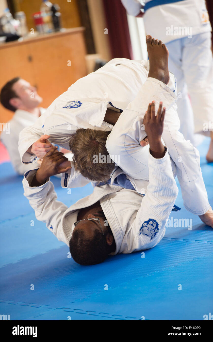 People training in self defence at a Royce Gracie Brazilian Jiu Jitsu  seminar workshop class UK