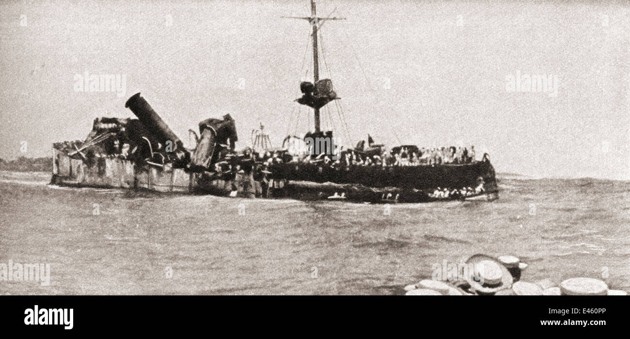 The German sea raider S.M.S. Emden, run aground after the Battle of Cocos in 1914. - Stock Image