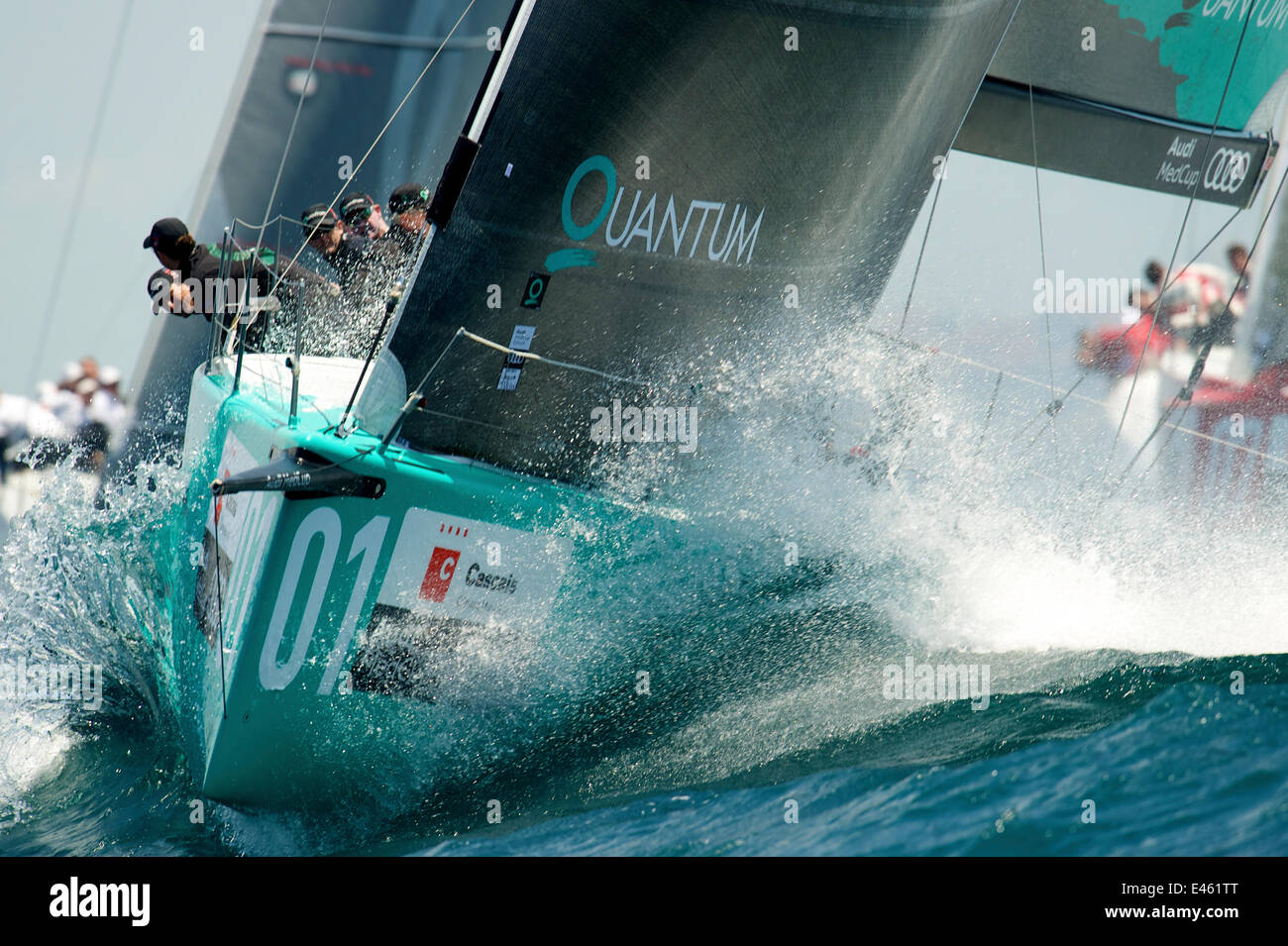 'Quantum Racing' leading the fleet race on day three of the 2011 Audi MedCup Circuit event in Casais, Portugal, Stock Photo