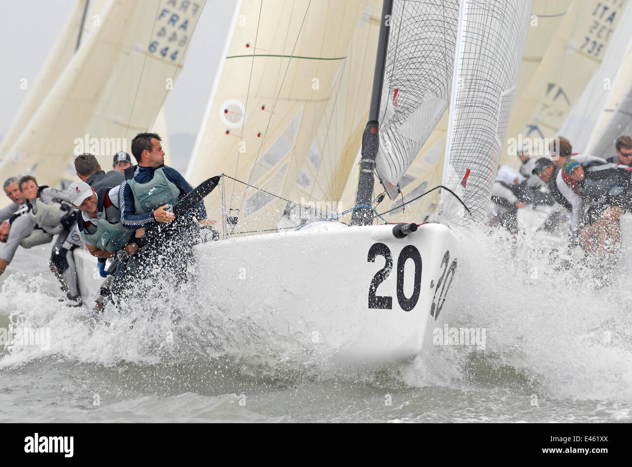 Crew hiking-out on board 'Blu Moon' during a race at the Melges 24 World Championships. Corpus Christi, - Stock Image