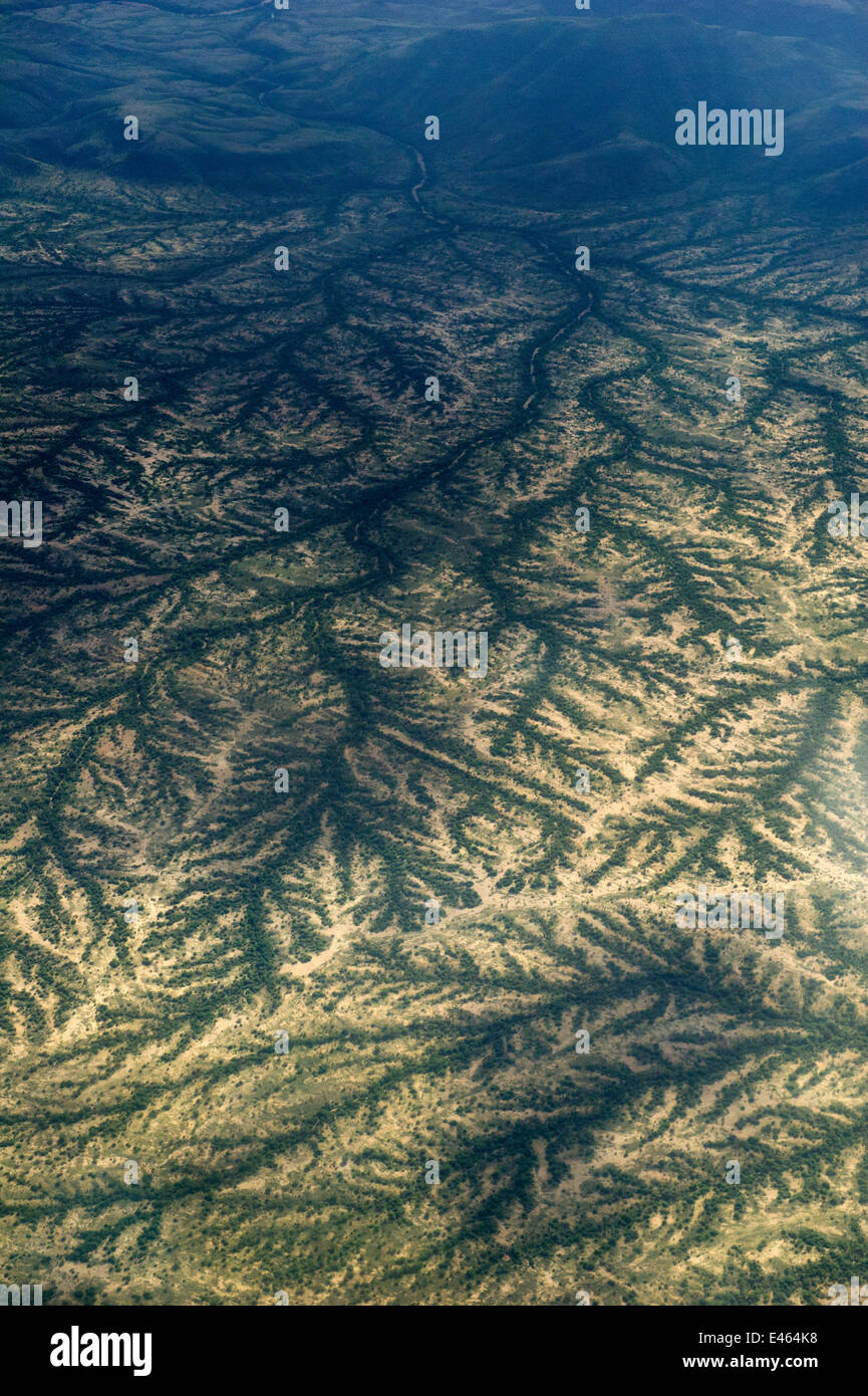 Dendritic drainage of the land at the end of the rainy season, a view from the air. Northern Kenya, Africa, November. Stock Photo