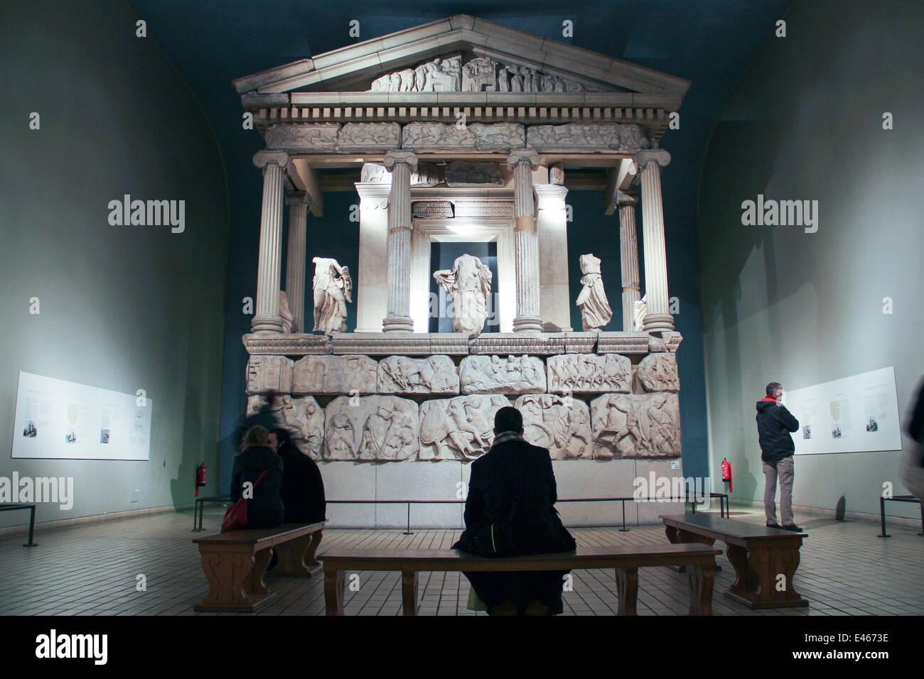 London: Nereid Monument at the British Museum . Photo from 09 January 2014. Stock Photo
