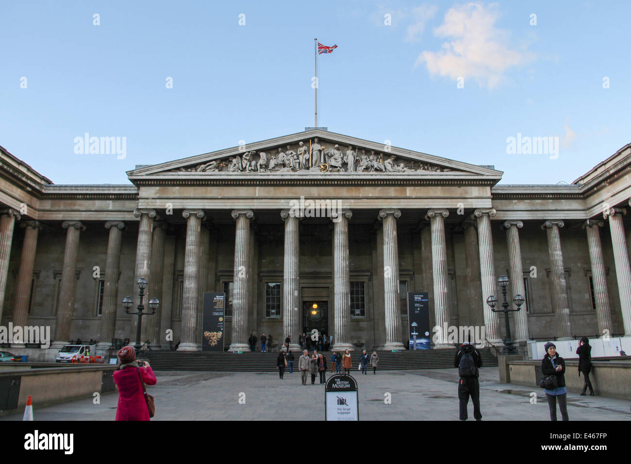 London: Main entrance of British Museum . Photo from 09 January 2014. Stock Photo