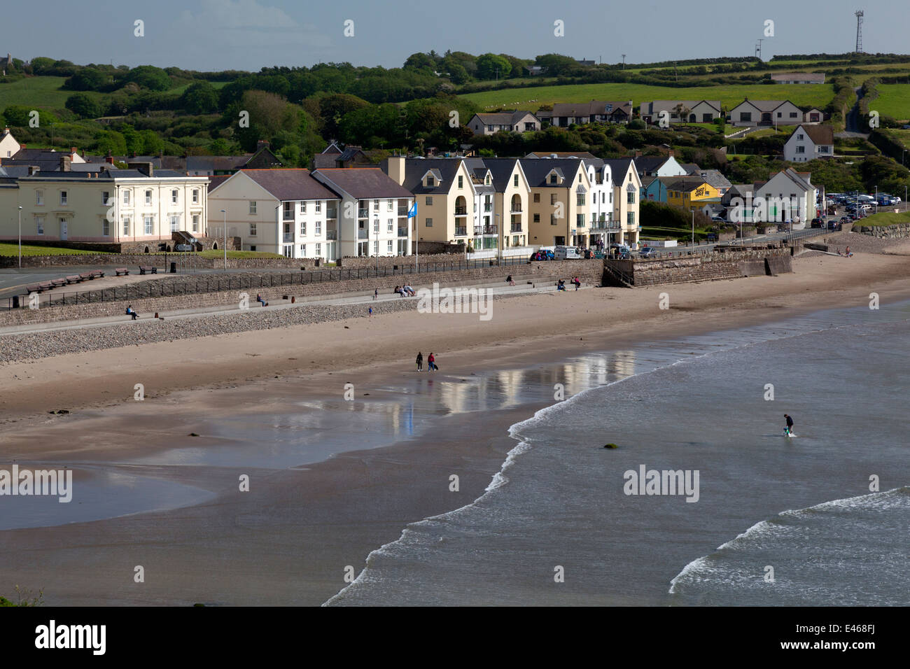 View of the sea front, Broad Haven, Pembrokeshire - Stock Image