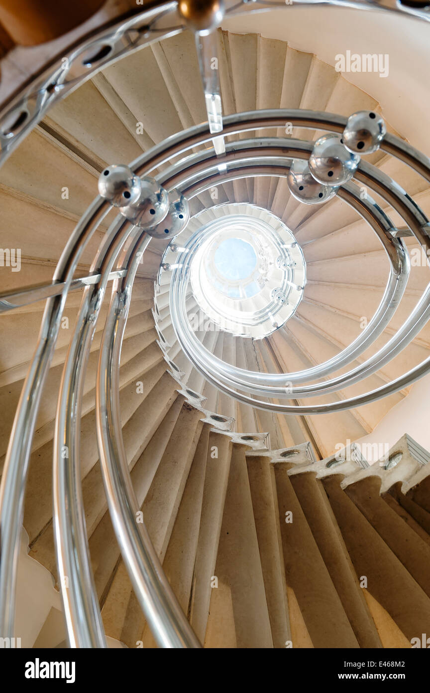 The Solar Staircase. A spiral staircase with 52 steps and each step is cast with seven divisions - Stock Image