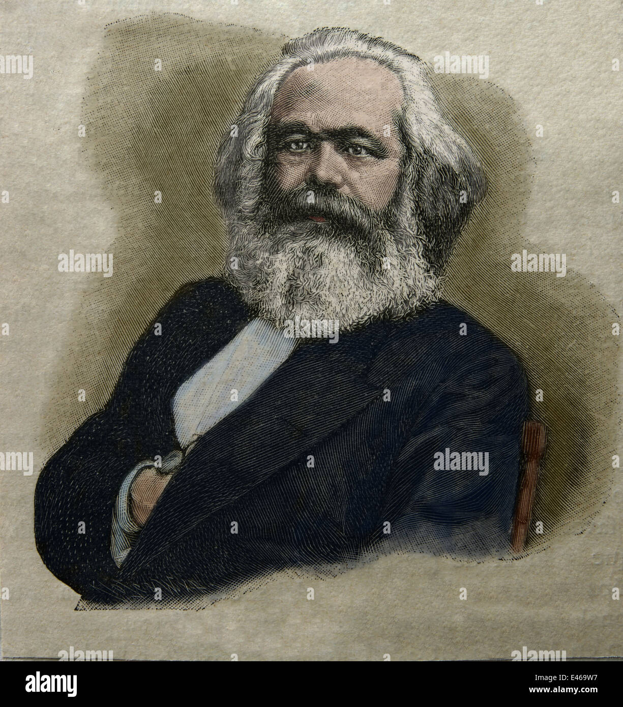 Karl Marx (1818-1883). German philosopher and revolutionary socialist. Portrait. Engraving. Color. - Stock Image