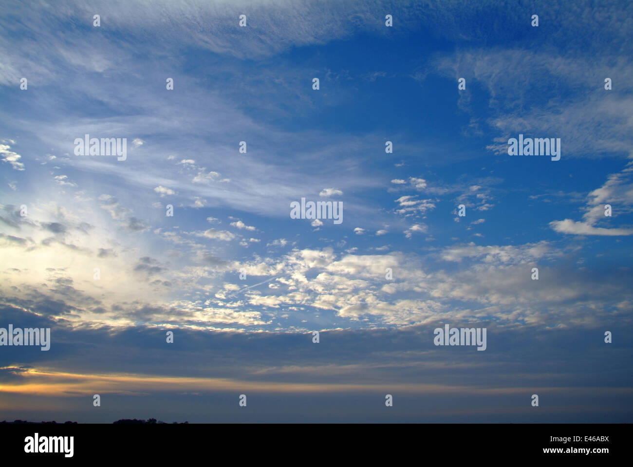 Blue sky and cirrus clouds - Baltic sea Germany Mecklenburg Western-Pomerania - Stock Image