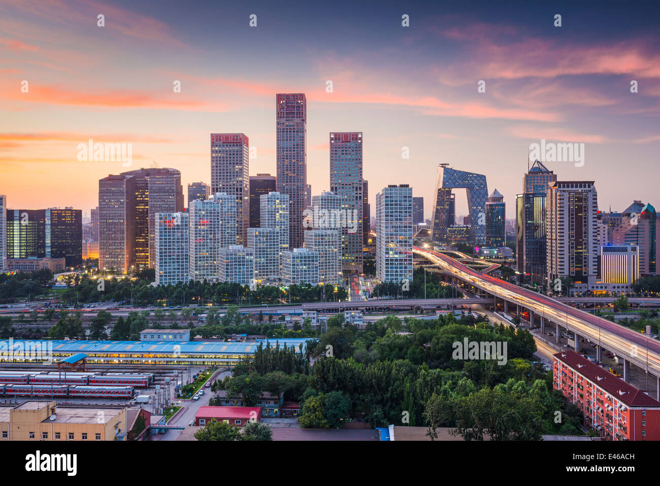 Beijing, China skyline at the central business district. - Stock Image