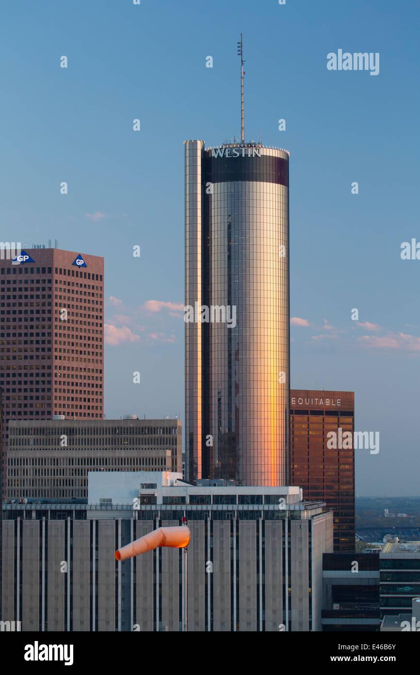 Elevated view over Downtown Atlanta skyline, Georgia, United States of America Stock Photo