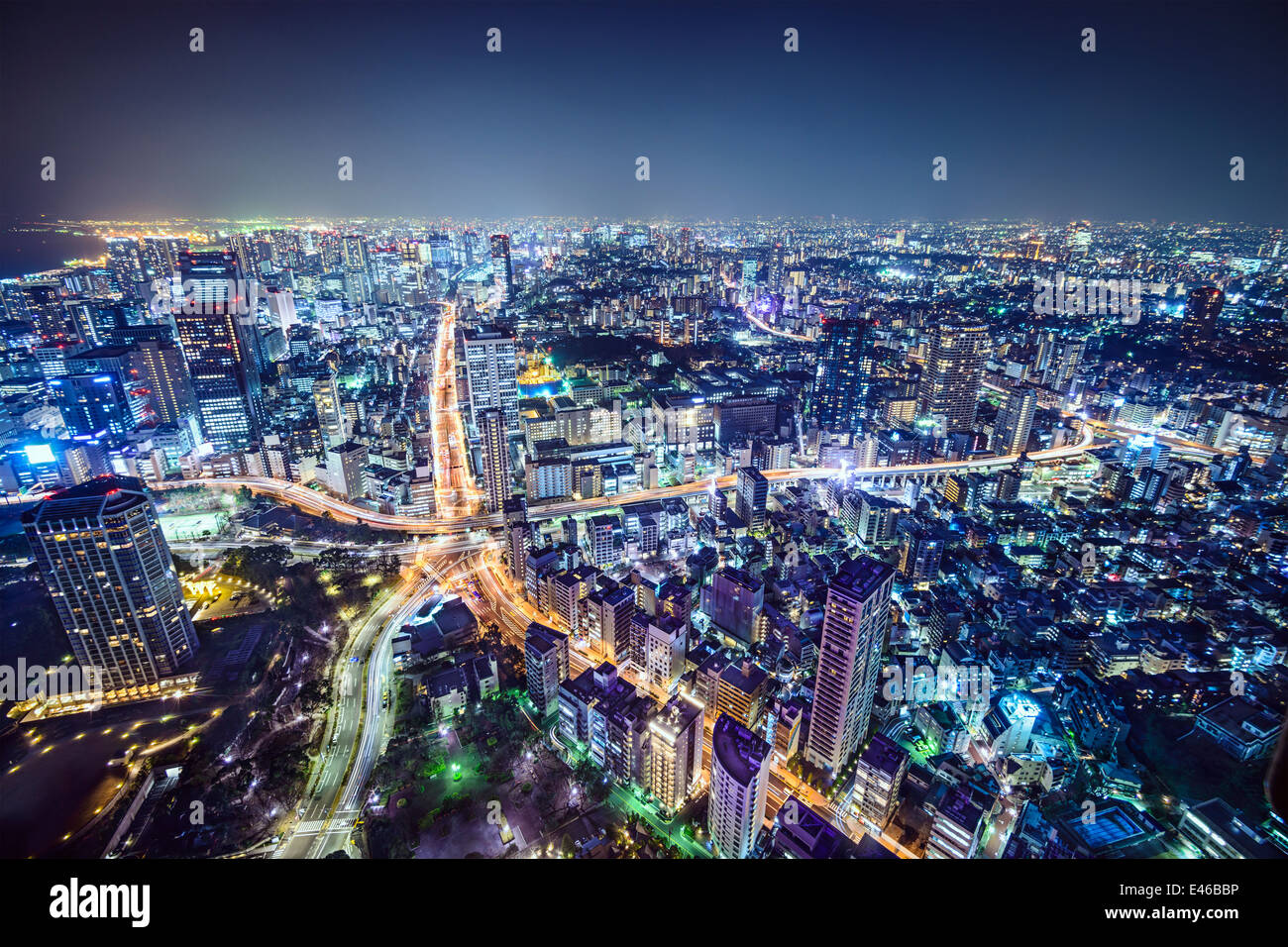 Tokyo, Japan cityscape over Roppongi Junction at night. - Stock Image
