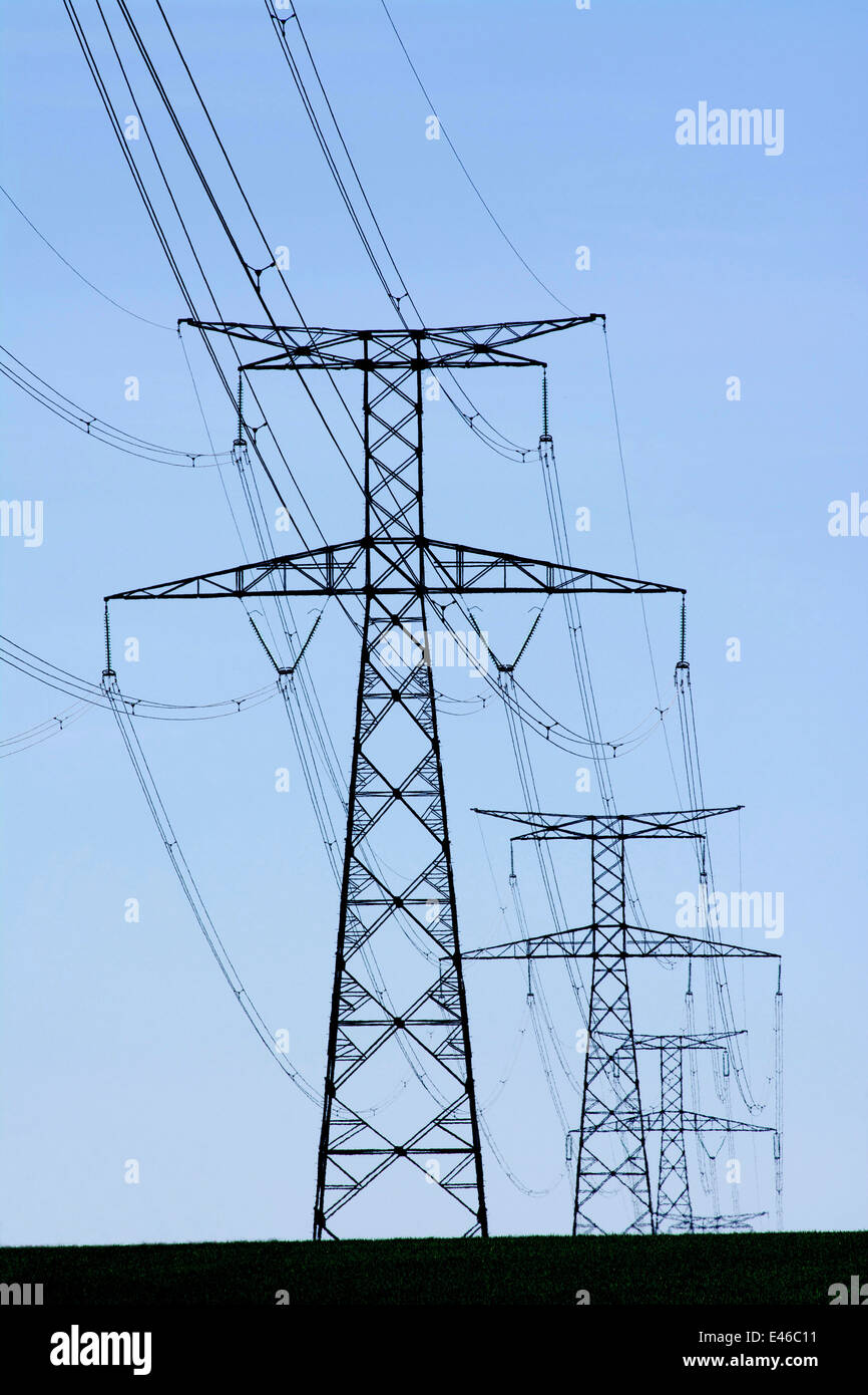 Electric pylons, France - Stock Image