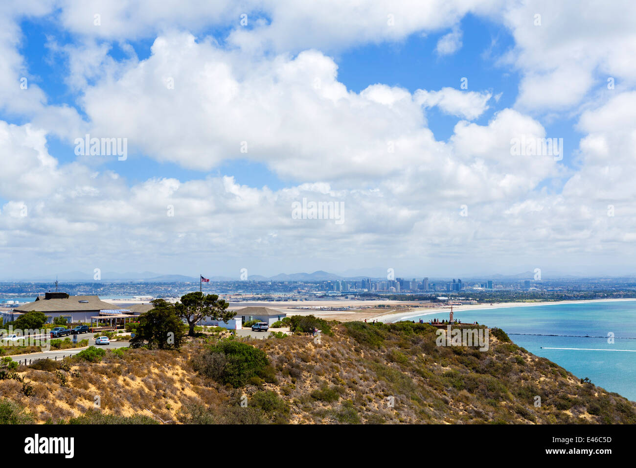 Cabrillo National Monument looking over Coronado and Naval Air Station North Island towards downtown San Diego, - Stock Image