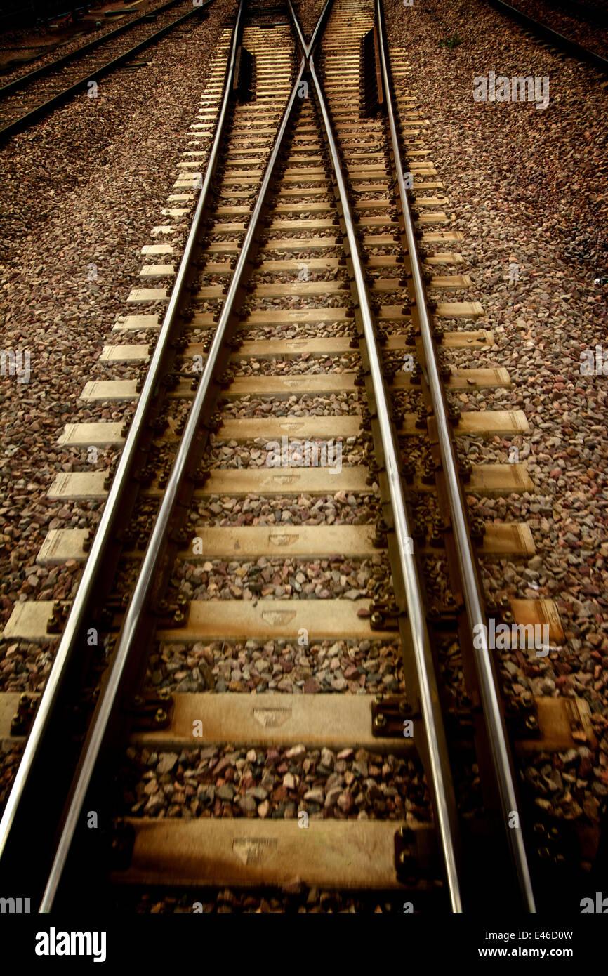 Railway track or train tracks - Stock Image