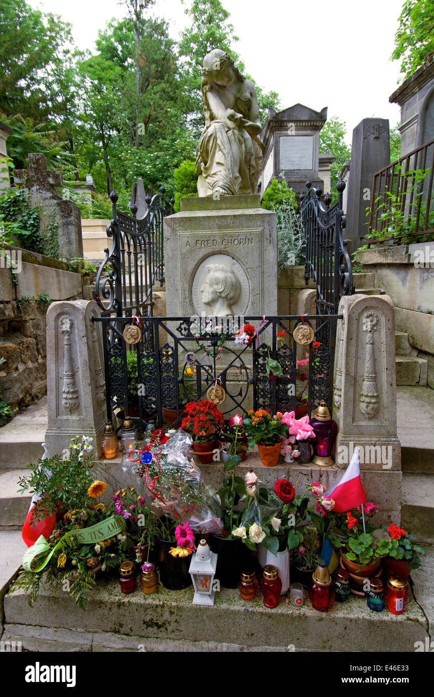 Grave of Frederic Chopin in Pere Lachaise cemetery, Paris, France, Europe - Stock Image