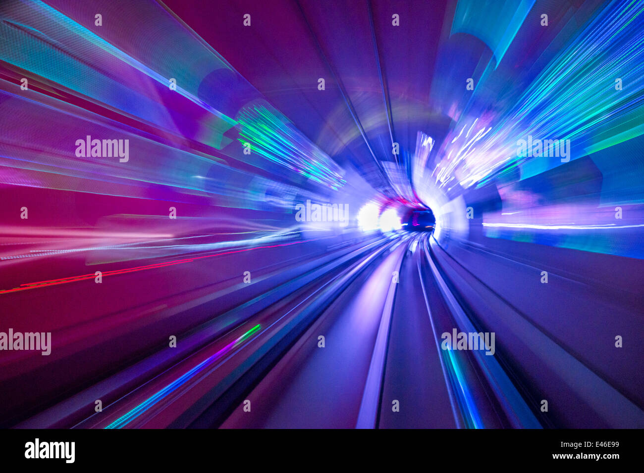 Sightseeing tunnel lights under the Huangpu River in Shanghai, China. - Stock Image