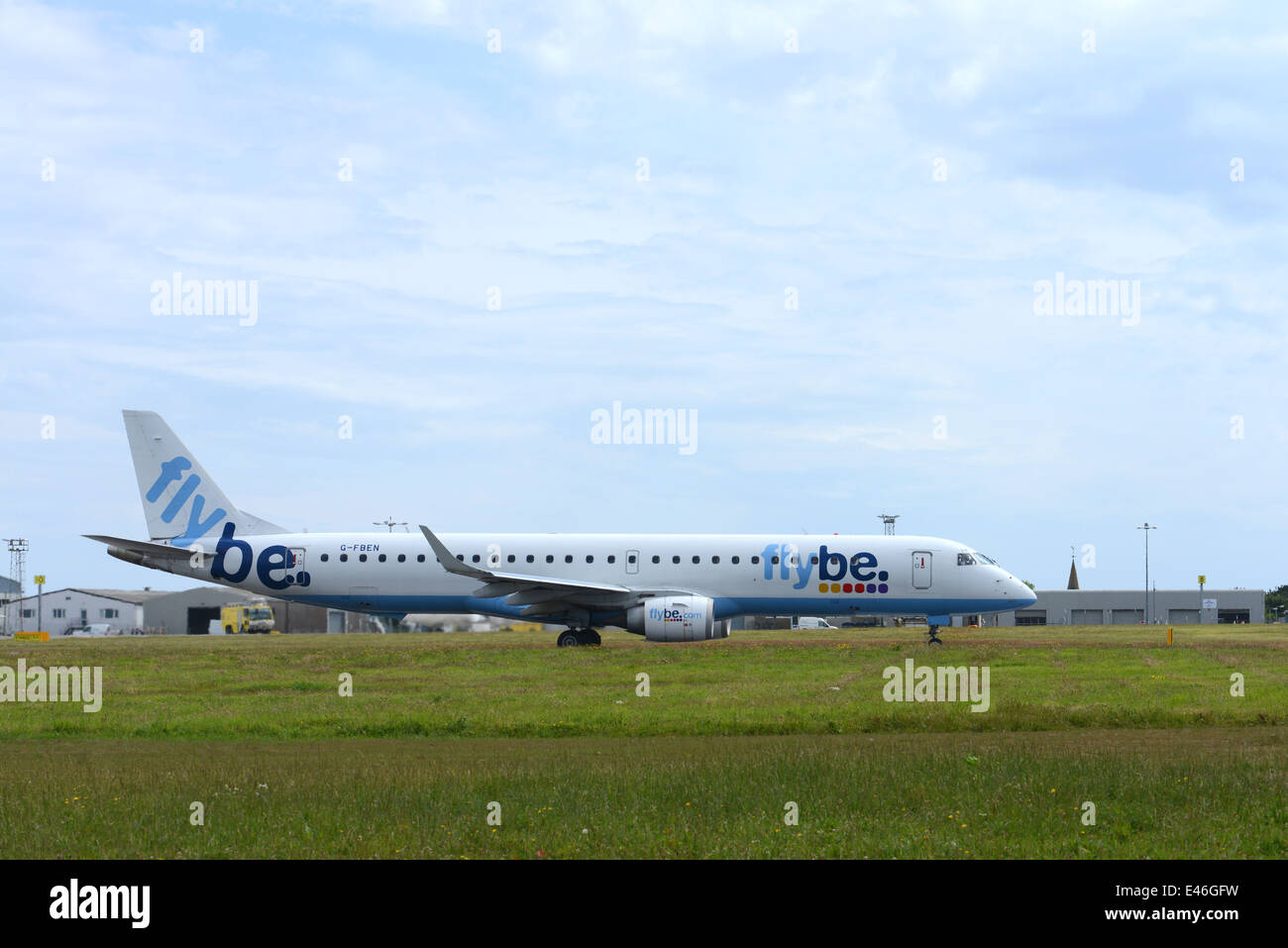 Flybe Jet plane on airport runway - Stock Image